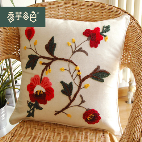 Sale Free Shipping Chinese Handmade Embroidery Linen Cushion Cover