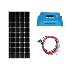 Kit Panel Charger Solar 12v 100w Solar Charge Battery Solar Controller 12v/24v 10ALCD  PV Cable Portable Power System Motorhome 500w off grid system complete kit 5 100w poly pv solar panel with 45a controller for 12v battery