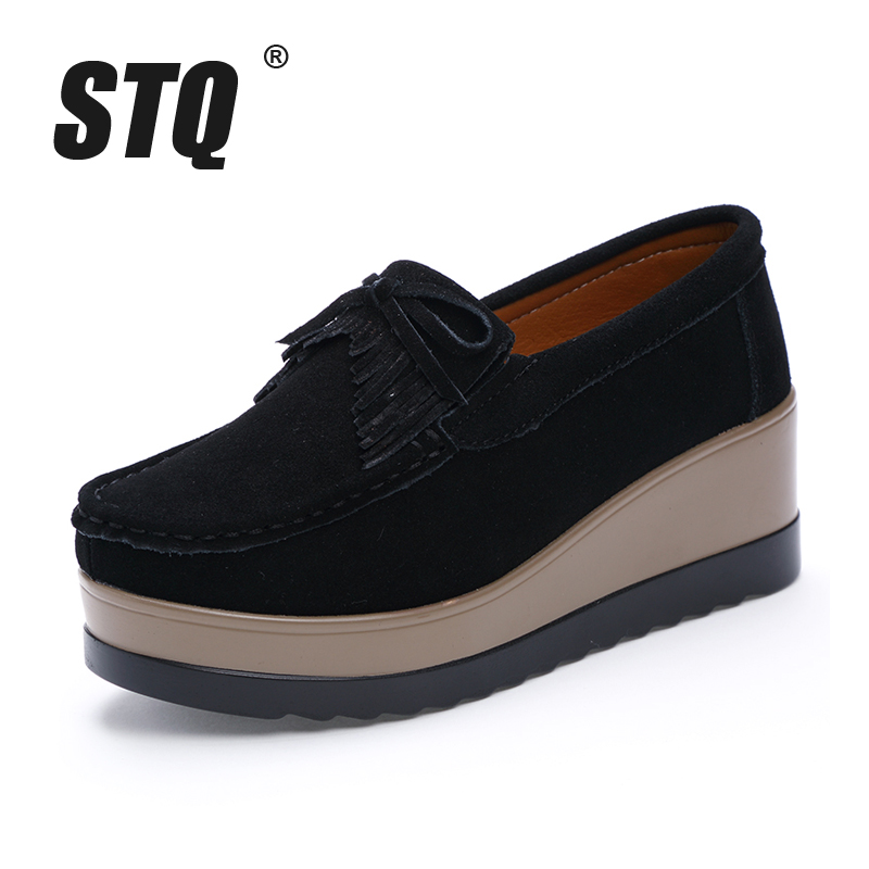 Image 2 - STQ 2020 Autumn Women Flats Women Leather Suede Fringe Platform Sneakers Thick Heel Casual Boat Shoes Ladies Loafers Shoes 912ladies loafers shoesboat shoesboat shoes ladies -