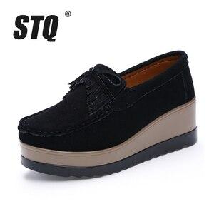 Image 2 - STQ 2020 sonbahar kadın Flats kadın deri süet saçak platformu Sneakers kalın topuk rahat tekne ayakkabı bayanlar loafer ayakkabılar 912