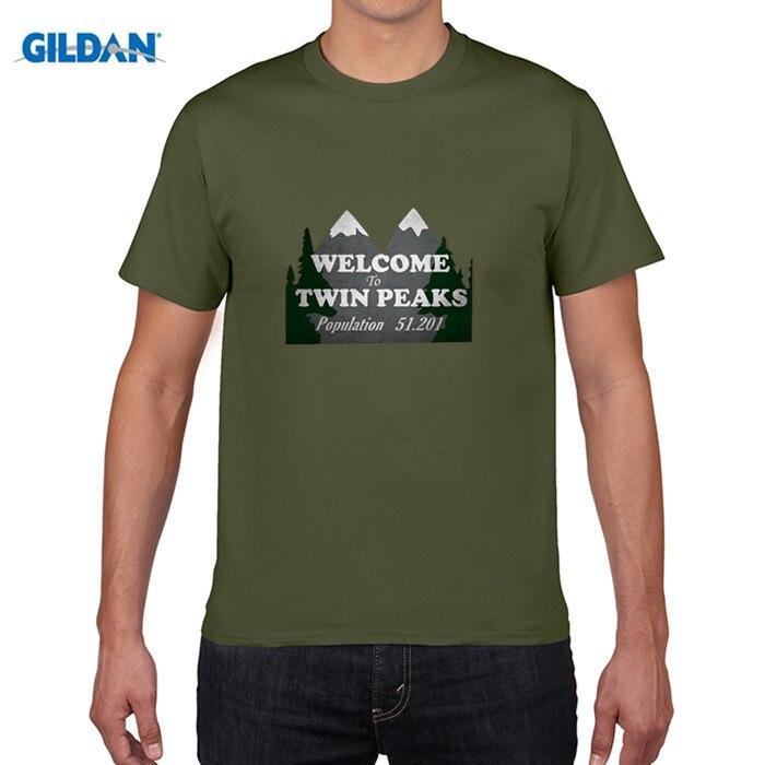 GILDAN pure cotton round collar T-shirt Mens Twin Peaks T-shirt White