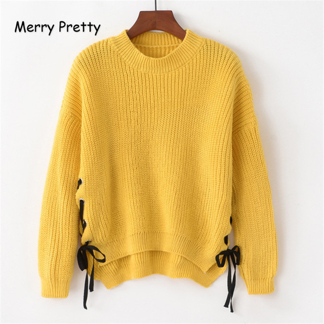 Merry Pretty Chic Fashion Women Pullovers Side Lace Up O-neck Knitted  Sweaters Back Long Casual Loose Yellow Jumper Tops MF28 c270f2db6
