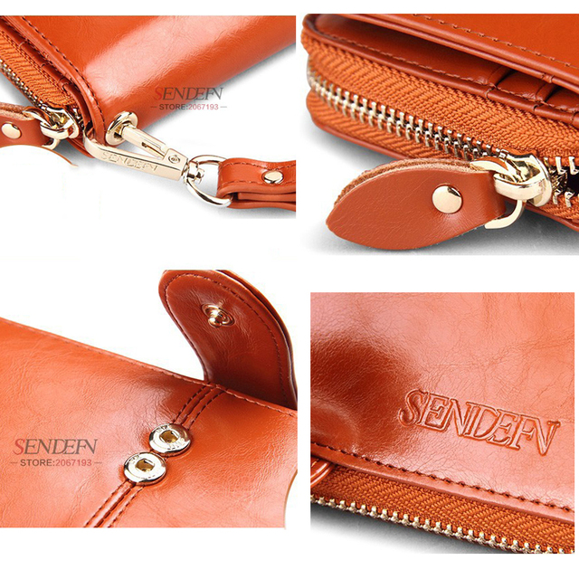 SENDEFN 100% Oil Wax Cowhide Leather Phone Pocket Purse Clutch Wallet For Women