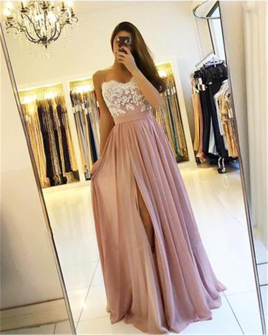 Wonderful Long   Bridesmaid     Dresses   2019 High Split A Line Spaghetti Strap Appliques Chiffon Wedding Party Gowns Cheap