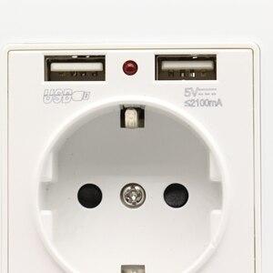 Image 5 - جديد فاخر زجاج لوحة الجدار مقبس الطاقة 16A الاتحاد الأوروبي القياسية الكهربائية المخرج مع 2100mA المزدوج USB شاحن مقبس ميناء للجوال