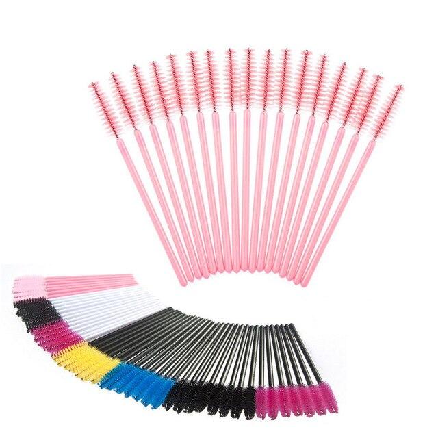 Cepillo desechable 50 unds/pack cepillo de brillo de labios cosmético máscara delineador de ojos lápiz labial de fibra única herramienta de pestañas portátil