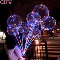 QIFU 1 Set 20 zoll Bobo Ballon Mit Led Licht Transparent Leucht Ballon Geburtstag Party Decor Kinder Hochzeit Decor Shower