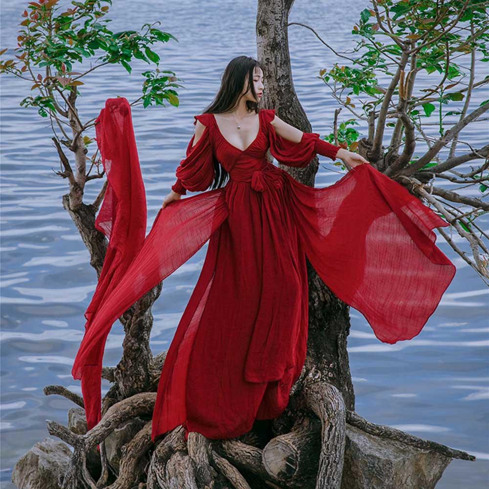 2019 été plage robe épaule dénudée fendu Vintage Boho femmes Maxi robe bohème v-cou lin Sexy vacances Chic robe VKDR1493