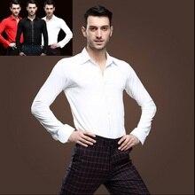 2015 nuevo blanco para hombre Camiseta competencia rendimiento salón de  baile moderno Salsa Samba Tango Latina 02888f966c0