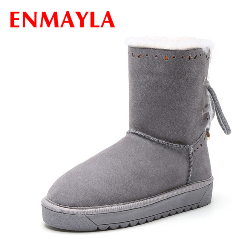 ENMAYLA Hlaf Boots Shoes Woman Warm Winter Snow Boots Platform Shoes Mid-calf Boots Large Size 34-43 Round Toe Flats Shoes enmayla ankle boots for women low heels autumn and winter boots shoes woman large size 34 43 round toe motorcycle boots