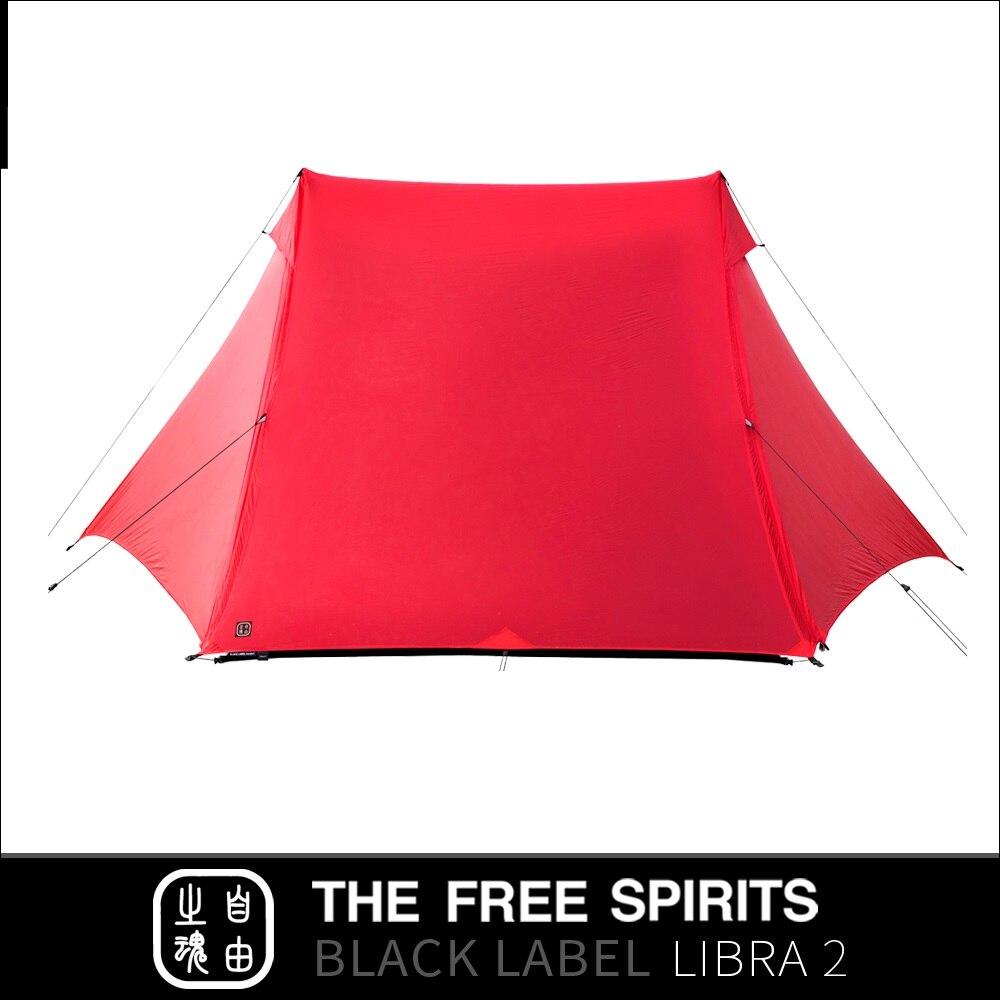 The Free Spirits TFS Libra2 tienda sin postes con revestimiento de silicona de 2 lados 2 personas 3 estaciones ultraligero impermeable Camping etiqueta negra - 4