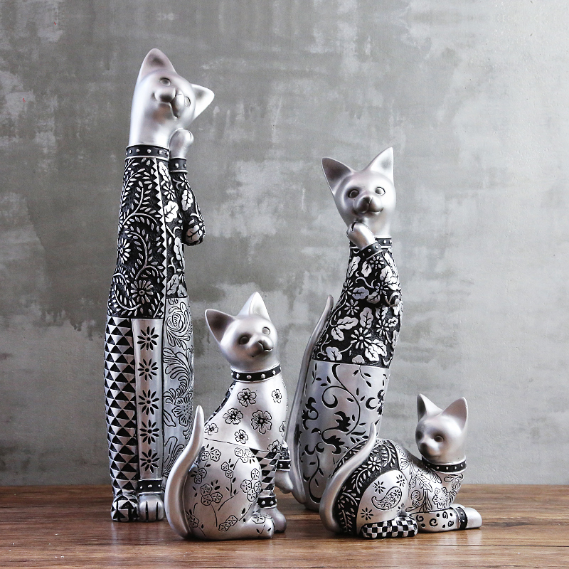 Elegant Silver Carved Cat Cute Cat Creative Handmade Resin Cat Ornament