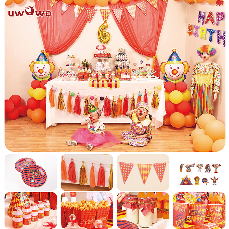 UWOWO  Birthday Party Decoration  Circus Troupe  Full Set Welcome Party Ornament Cosplay Costume Party Garnish Set