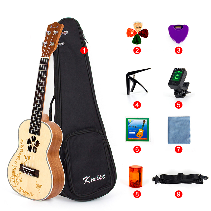 Kmise Concert Ukulele Solid Spruce Ukelele 21 inch Beginner Kit  with Gig Bag Strap Tuner String Picks Capo Sand Shaker kmise soprano ukulele spruce 21 inch ukelele uke acoustic 4 string hawaii guitar 12 frets with gig bag