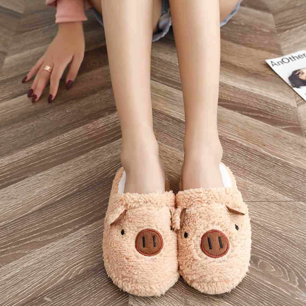 2019 New Lovely Women Flip Flop Cute Pig Shape Home Floor Soft Stripe Slippers Female Shoes Girls Winter Spring Warm Shoes