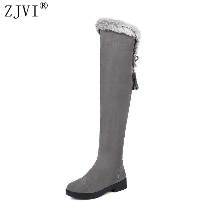 ZJVI frauen oberschenkel hohe stiefel schnee frauen damen nubuk winter  stiefel frau über die knie stiefel 13322d973b