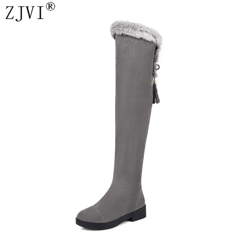 ZJVI women thigh high snow boots women's ladies nubuck winter boots woman over the knee boots women black gray shoes flats 2017 winter cow suede slim boots sexy over the knee high women snow boots women s fashion winter thigh high boots shoes woman