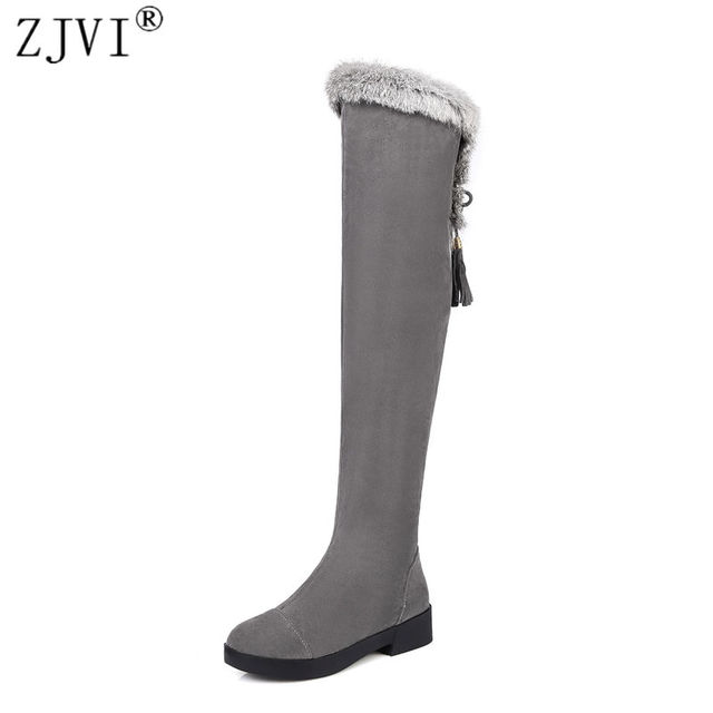 21d17f3f36dfc ZJVI women thigh high snow boots women's ladies nubuck winter boots woman  over the knee boots women black gray shoes flats