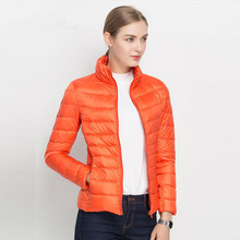 Autumn and winter Stand collar Light and thin Short section Slim Large size Down jacket