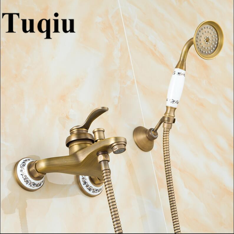 Bathtub Faucets Antique Brass Shower Set Bathtub Mixer Tap Single Handle Dual Control Shower Wall Mounted For Bathroom antique bathroom single handle wall mounted bathtub shower set mixer set faucet tap bathroom shower free shipping hj 6053
