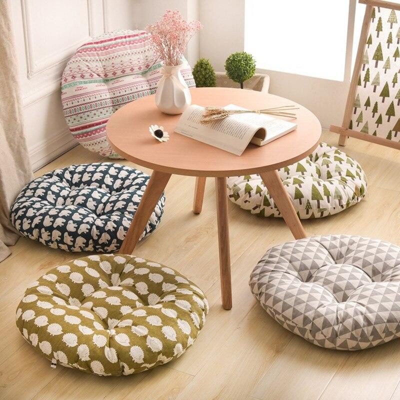 Forma redonda cojín de asiento de 2 tamaños de algodón de seda núcleo de algodón de poliéster almohada de Tatami decoración del hogar cojín de sofá de coche suave