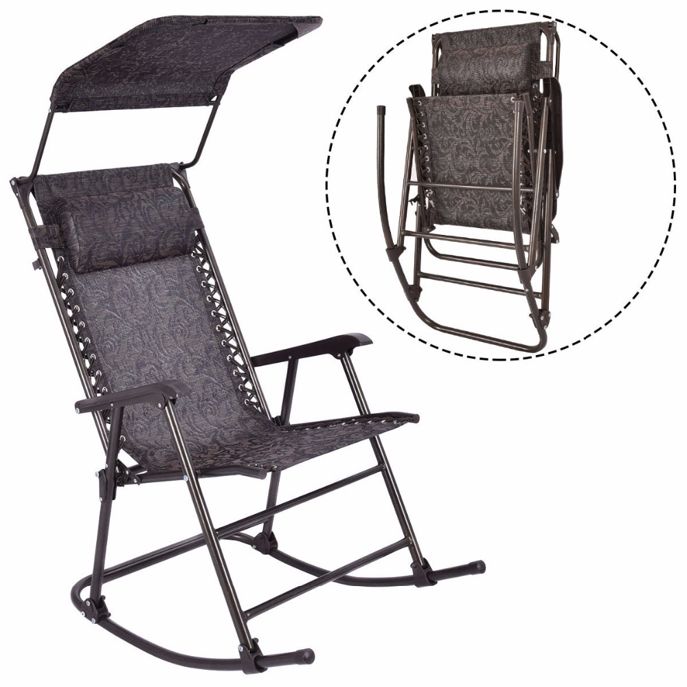 Folding Rocking Chair Porch Patio Indoor Rocker With Canopy & Headrest OP3021 rocking chair wood presidential rocker black oak american style furniture adult large rocker rocking chair indoor outdoor design