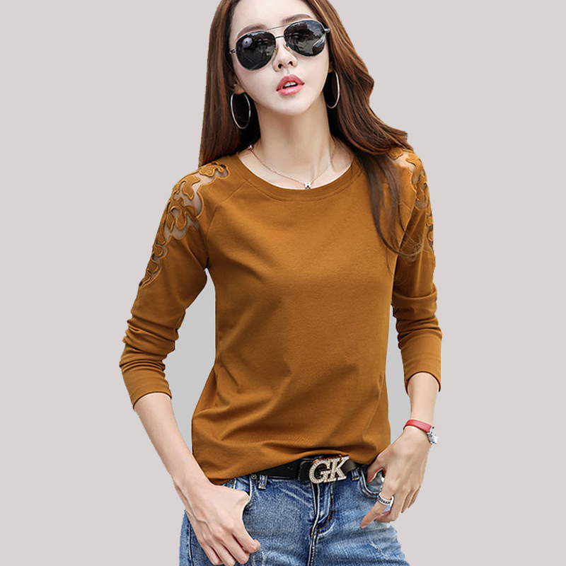Shintimes Poleras Mujer Long Sleeve   Shirt   Women   T     Shirt   Lace Tshirt Hollow Out Casual Sexy Slim   T  -  Shirt   2018 Tee   Shirt   Femme