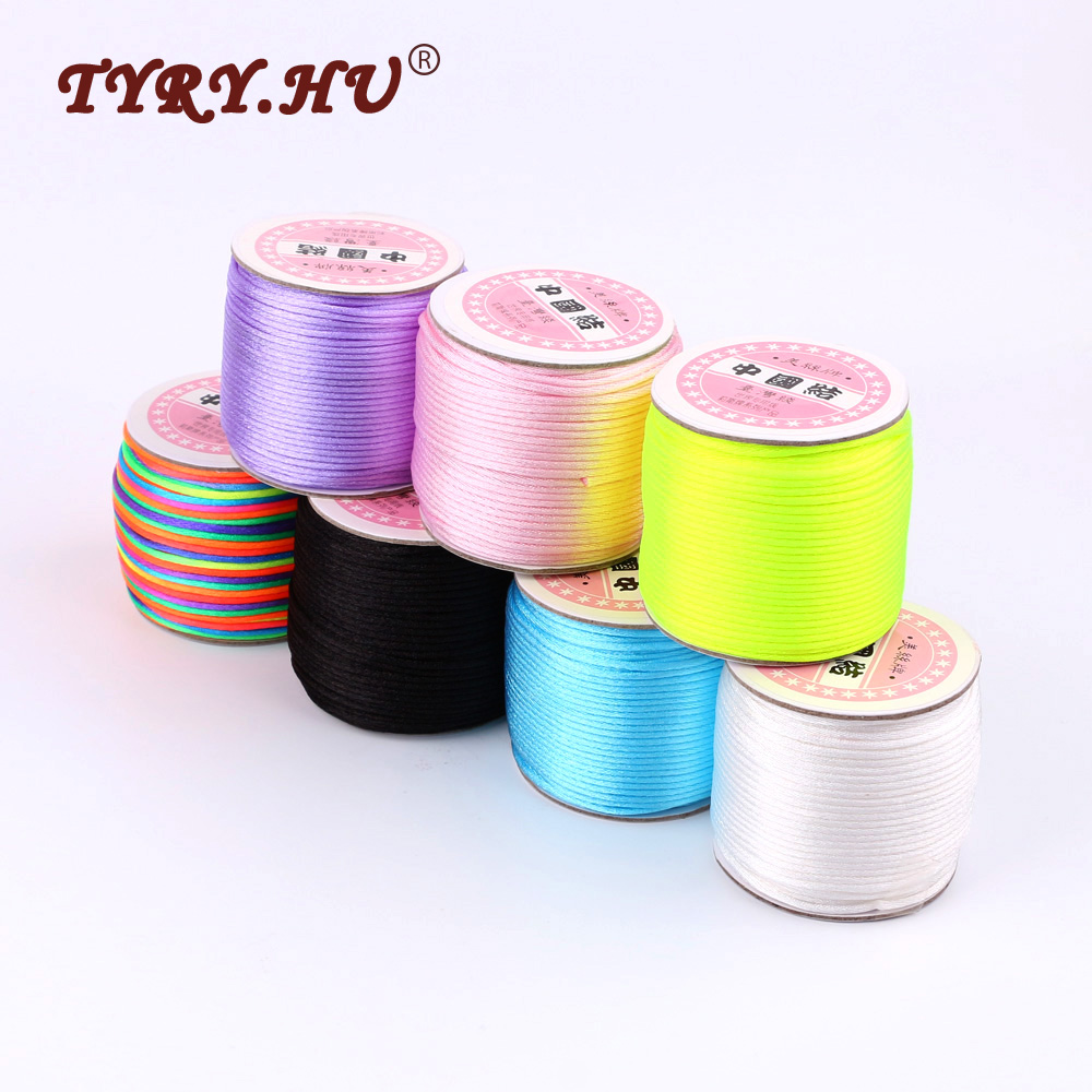 TYRY.HU 45M/Roll MultiColor 2mm Nylon Cord Satin Silk Rope Non-toxic&Tasteless Material Safe For Baby Teething Jewelry Making