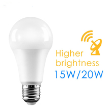 E27 15W 20W 110-265V Garden garage Radar Penetrate Light Lamp Smart Auto Switch LED Bulb Dusk to dawn Motion Sensor