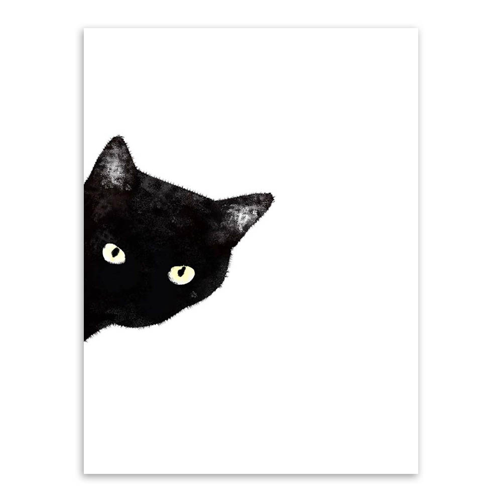 Watercolor-Minimalist-Kawaii-Animals-Black-Cats-Head-Canvas-A4-Art-Print-Poster-Nordic-Wall-Picture-Home (3)