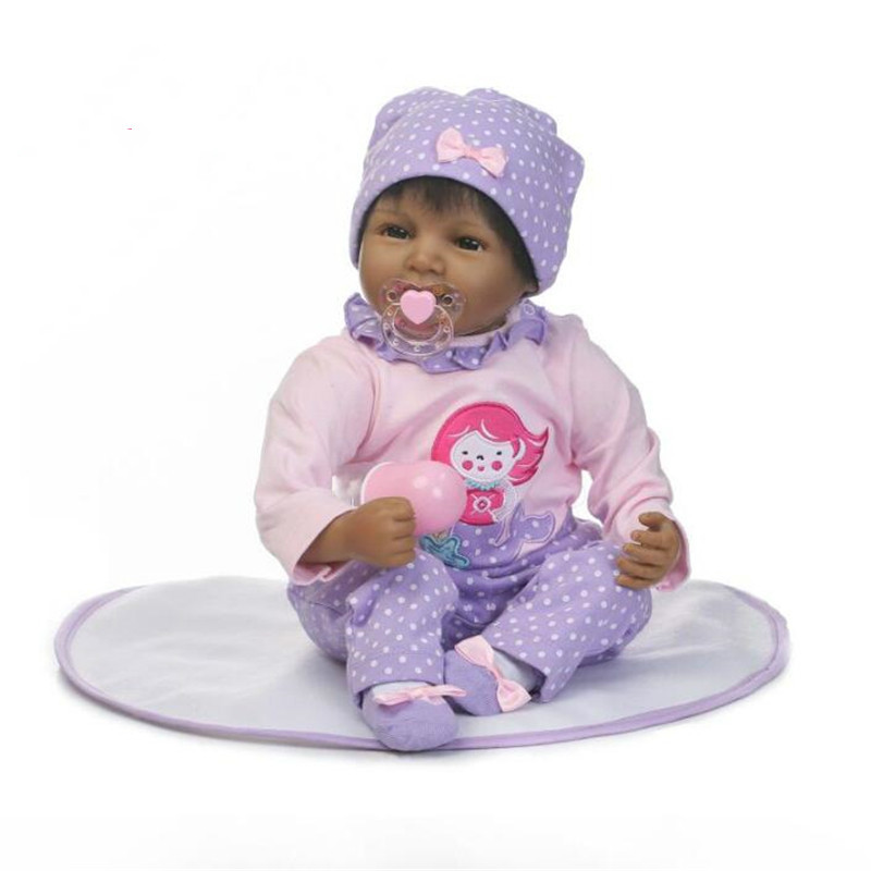 """55cm/22"""" Reborn Baby Doll Black African American Silicone Vinyl Realistic Lifelike Toy Gift Collection 7033021"""