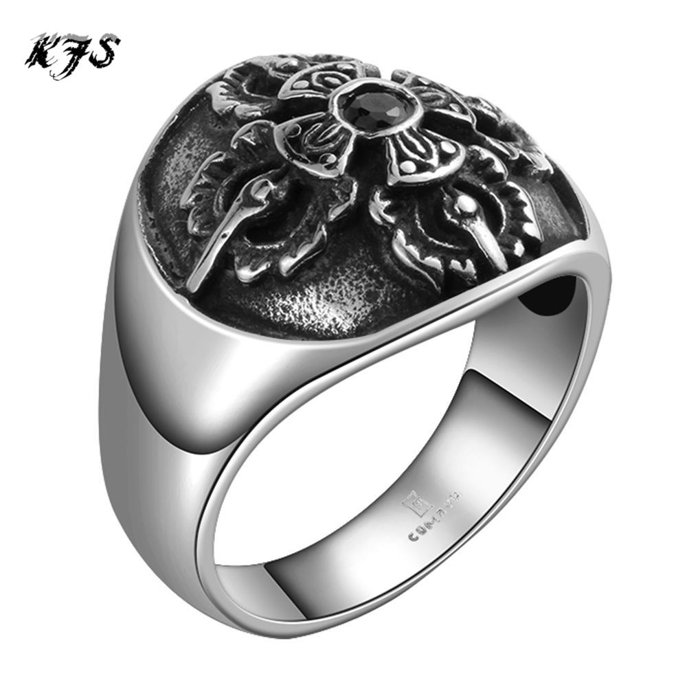 2016 Men's Rings Retro Mysterious Pattern Cross Black Cz Diamond Ring 316l  Stainless Steel Party Gift