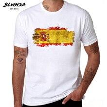 BLWHSA España bandera T camisa hombres pantalón corto casual manga 100% de algodón de verano Camisetas de impresión de bandera española camisetas