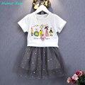 Humor Bear Girls Clothes Set T-Shirt + Gray Dress 2Pcs Kids Clothing Set Girls Clothing Sets Kids Clothes