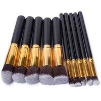 Mini 10 Pcs Silver Golden Pink Makeup Brush Set Cosmetics Foundation Blending Blush Makeup Tool Powder