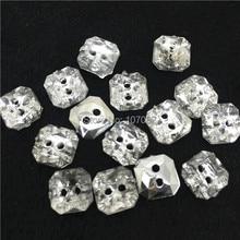 900 шт/партия 10 мм акриловые квадратные кнопки прозрачная блестящая швейная рубашка diy Кнопка Скрапбукинг аксессуары для одежды