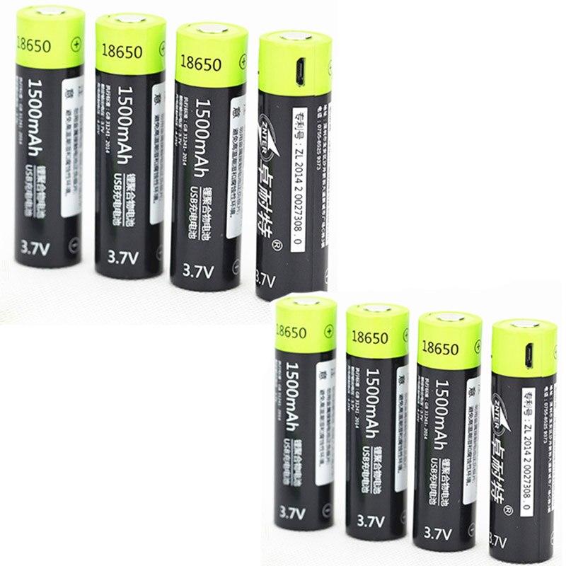 ZNTER 8 pièces 3.7 V 18650 batterie 1500 MAH Lipo pile rechargeable + 1 pc câble USB pour 18650 Batteries livraison directe