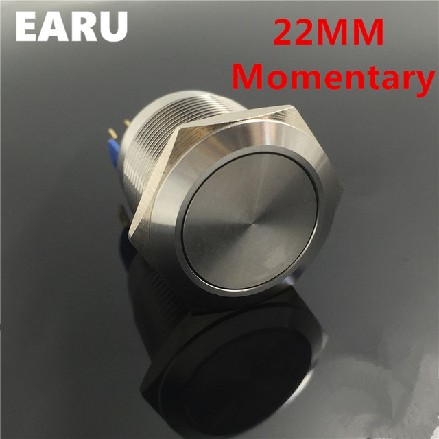 22mm Waterproof Momentary Stainless Steel Metal Doorbell Bell Horn Push On Switch Car Auto Engine