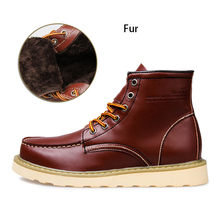 2016 Men Winter Boots Fashion Casual Fur Warm Ankle Boots Genuine Leather Men's Martin Boots Snow Man Shoes Botas Sapatos Hombre