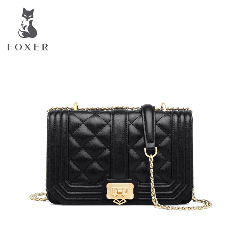 цена на FOXER 2018 New women leather bag fashion chain Small square bag luxury women handbag shoulder bag Handbags & Crossbody bags