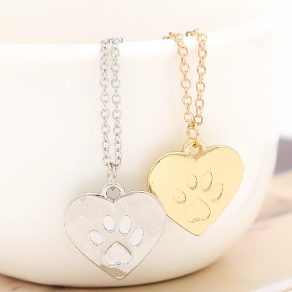YYW Hot Sale Punk Cat Dog Paw Print Pet Animal Pendant Charm Necklace Women Man Pendant Cute Delicate Statement Necklace Jewelry