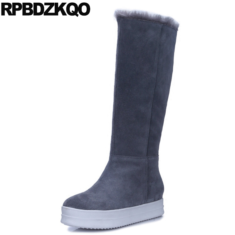 Creepers Sexy Shoes Muffin Long Knee High Quality Boots Grey Luxury Brand Women Snow Slim Slip On New Ladies Chinese 2017