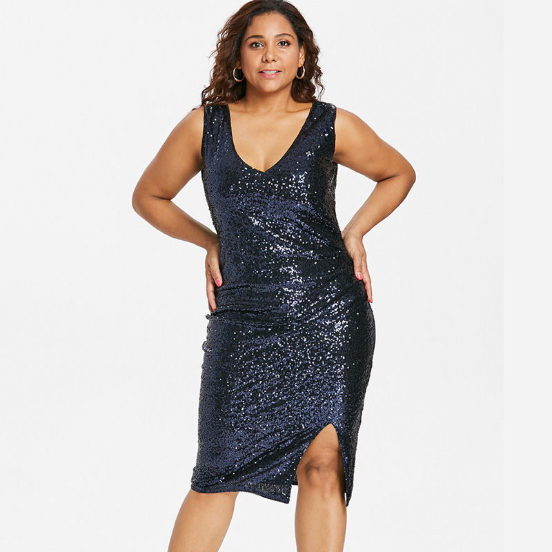 a05d1eebf331 Wipalo Plus Size Sexy V Neck Female Sequined Sheath Dress Women Sleeveless  Side Slit Sparkly Party