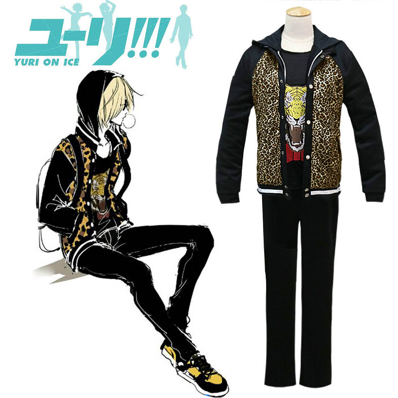 YURI on ICE Yuri Plisetsky Cosplay Cool Leopard Print Jacket font b Hoodie b font Tiger
