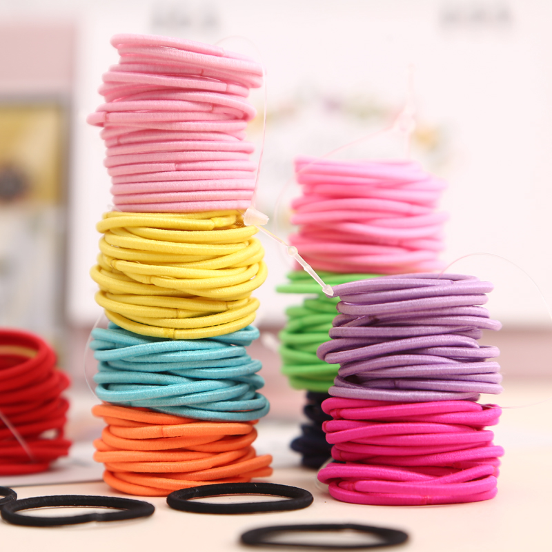 100pcs/lot 3CM Children's Hair Accessories Cute Girl Ponytail Hair Holder Thin Elastic Rubber Band For Kids Colorful Hair Ties 50 pcs lot 3cm candy colour basic rubber band children kids elastic hair band baby girls hair rope accessories