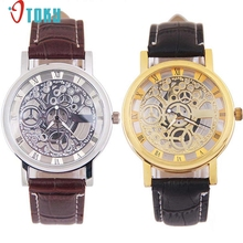 OTOKY Hot Unique Men's Wrist Watches Faux Leather Mechanical Gear Watch Drop ship F25