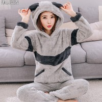 4XL 6XL big size tops Long Women Pajamas Autumn Winter Thickening Flannel Long sleeve Pullover Sleepwear Coral Fleece Nightgowns