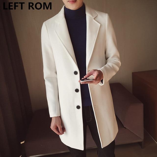 9de777e0cb2ff LEFT ROM Male winter high-grade warmth slim Fit Cashmere coat men pure  color lapel Casual jacket Trench coat Large size S-5XL