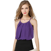 Nice Summer WoMen Fashion Camis T-shirt Chiffon Shirts Round Neck Sleeveless T Shirts Plus Size S-XL