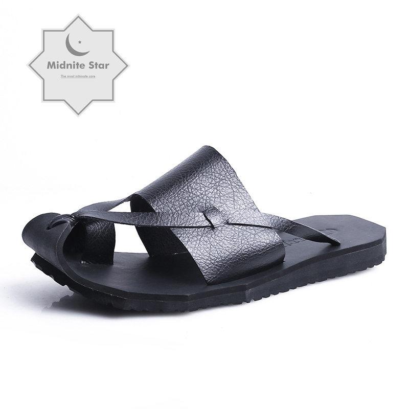 New summer men's sandal leather Korean drive beach dual-use Flip-flops mens slippers outdoor breathable non-slip beach slippers(China)